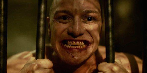 James McAvoy smiling through bars Split movie