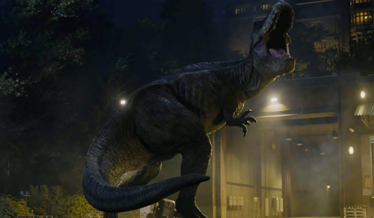 Roberta the tyrannosaurus rex roars at Lockwood Manor in Jurassic World: Fallen Kingdom.