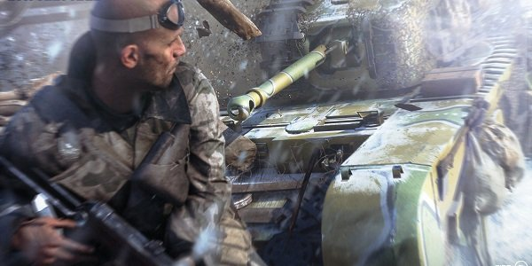 A soldier runs from a tank in Battlefield V.
