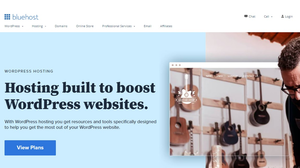Bluehost's homepage for its WordPress hosting plans