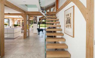 bespoke staircase in oak frame self build