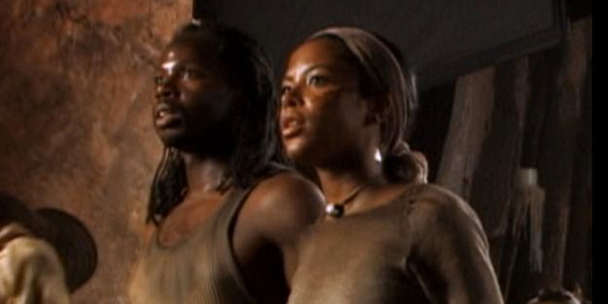 Harold Perrineau and Aaliyah on the set of The Matrix Reloaded