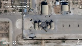 A closeup of the wreckage at Iraq's al-Asad airbase, as captured on Jan. 8, 2020, by one of Planet's SkySat satellites.