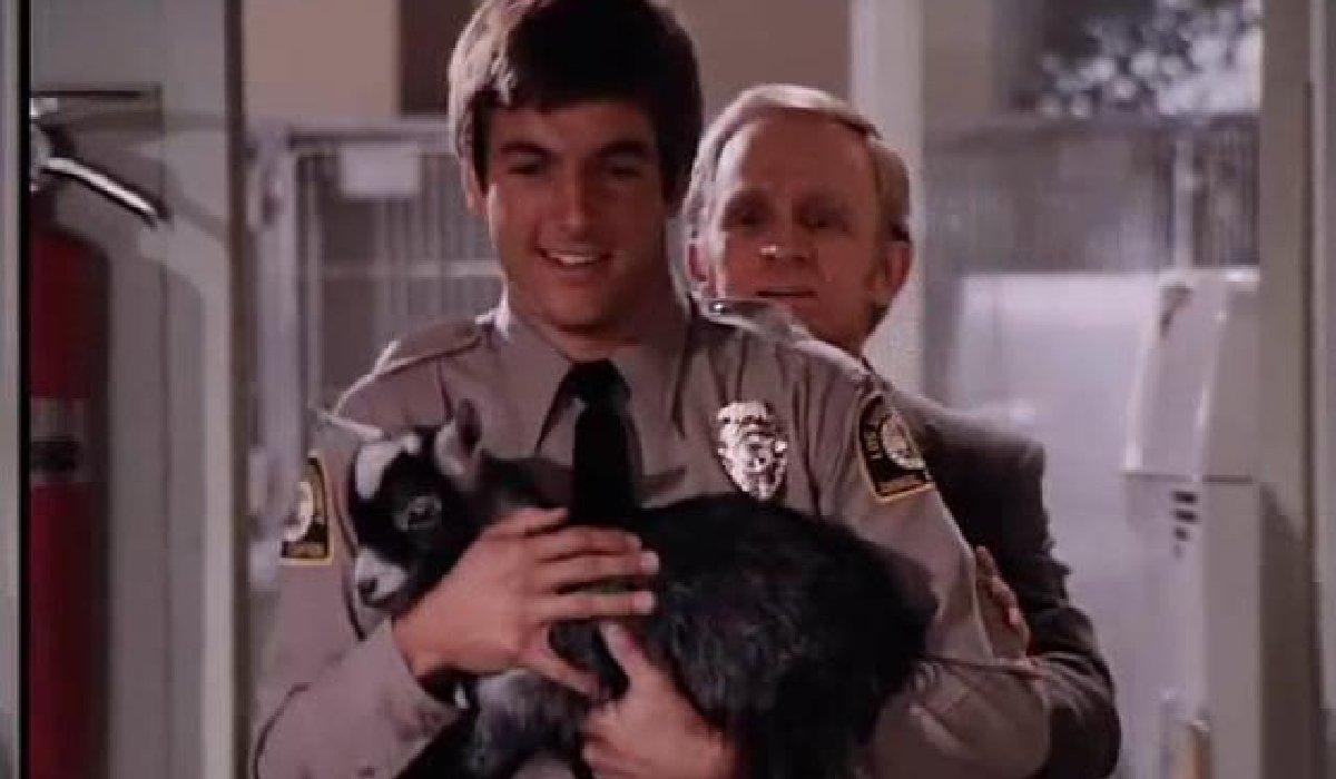 Emergency Mark Harmon holding a baby goat
