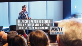 Bryan Meszaros gives the keynote at the Aug. 2019 AV/IT Summit in New York.