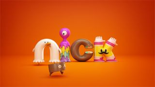 Nickelodeon logo reinvented with cute 3D characters