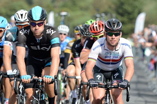 Bernie Eisel and Mark Cavendish, Tour of Britain 2013, stage six