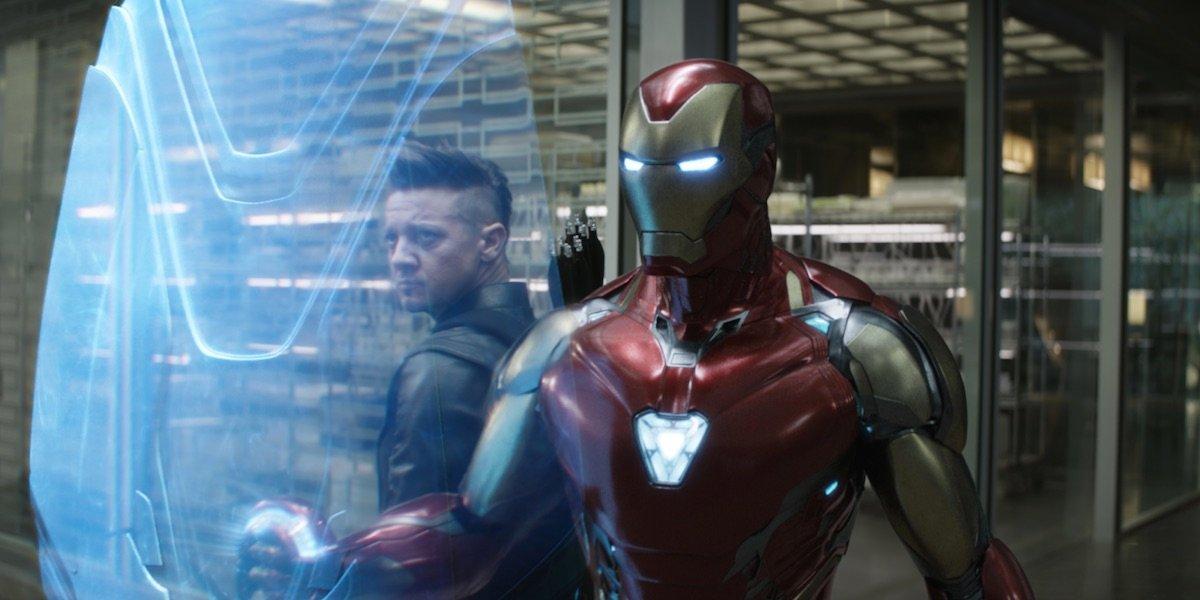Iron Man shielding Hawkeye