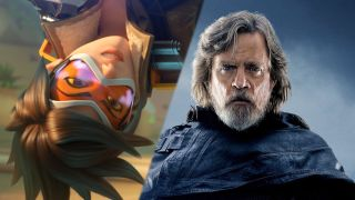A photo illustration of Tracer from Overwatch and Luke from Star Wars; The Last Jedi.