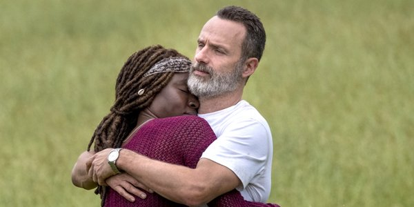 Andrew Lincoln as Rick Grimes and Danai Gurira as Michonne on The Walking Dead Season 9 Episode 1