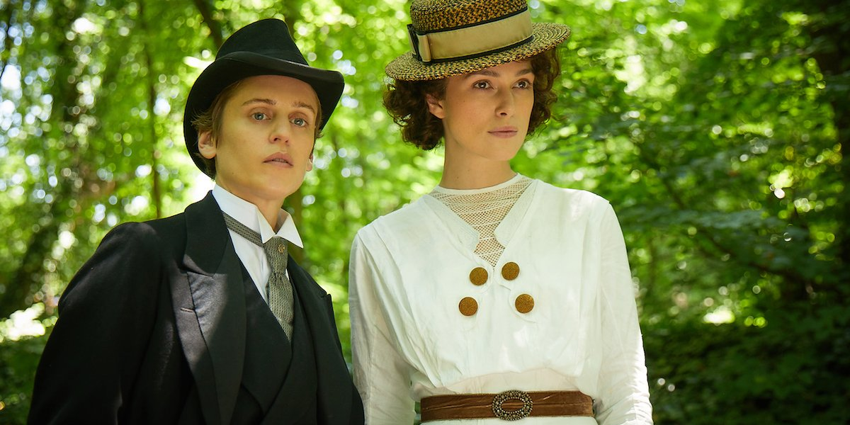 Denise Gough and Keira Knightley as Missy and Colette in the park in Colette