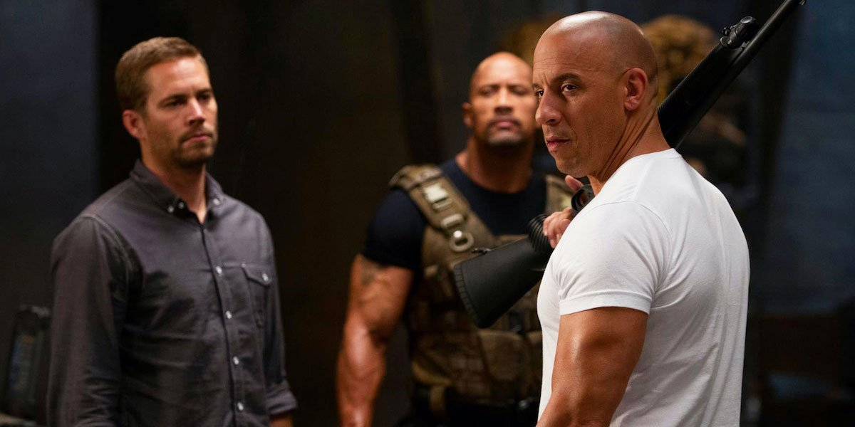 Vin Diesel, Paul Walker and Dwayne Johnson in Fast and Furious 6