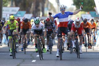 Arnaud Demare winning a stage in Valencia