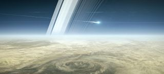 Cassini diving to Saturn art