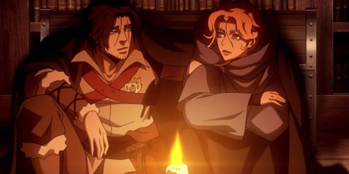 Trevor on the left, Sypha on the right
