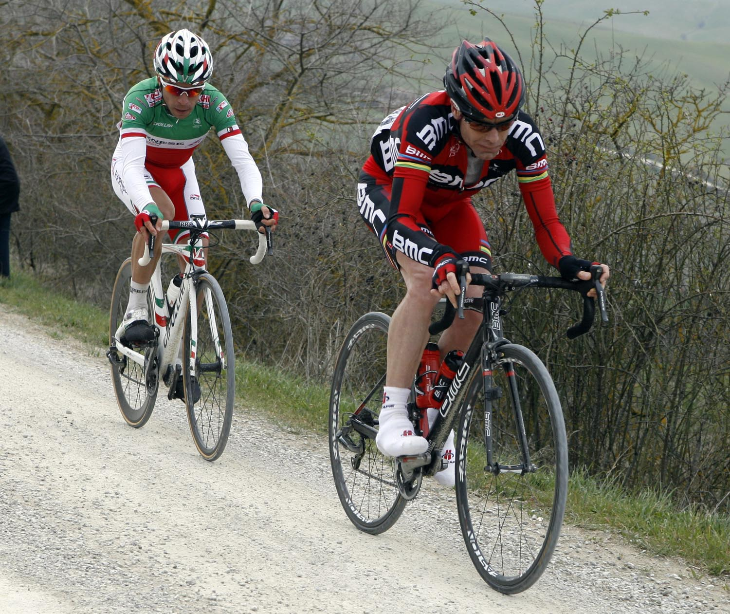 Cadel Evans and Giovanni Visconti, Strade Bianche 2011