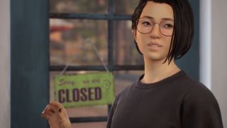 Protagonist Alex Chen looking at an off-camera woman who is in distress.