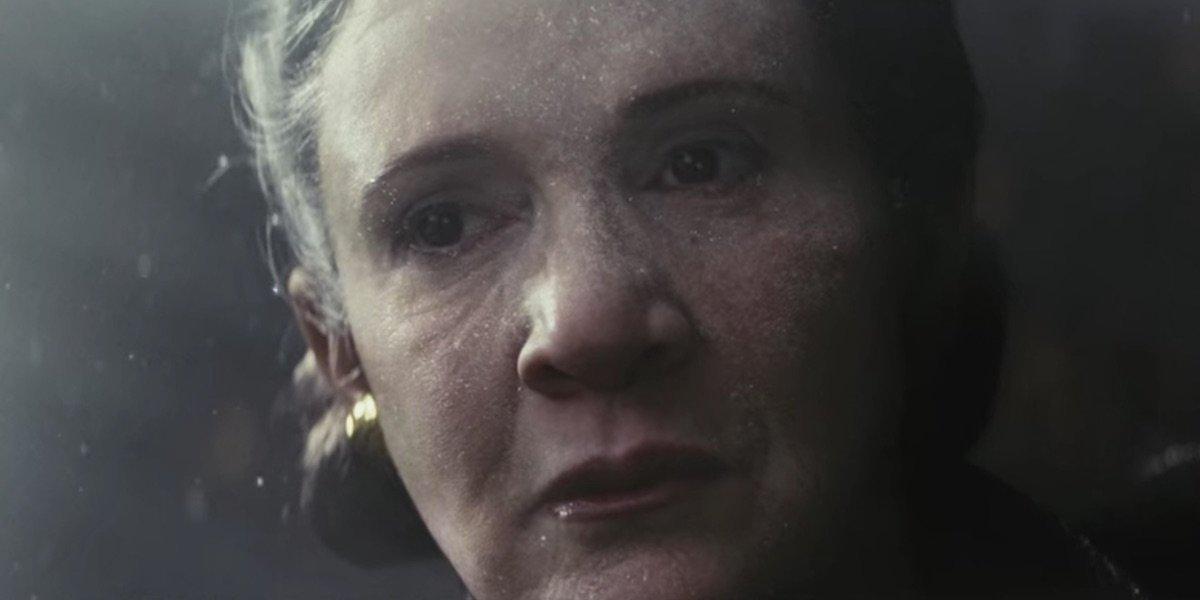 Leia floating through space