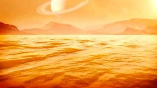 An artist's depiction of a sea on Saturn's moon Titan.