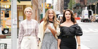 """From left, Cynthia Nixon, Sarah Jessica Parker, and Kristin Davis in """"And Just Like That ..."""" on HBO Max."""