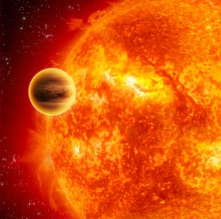 An artist's depiction of 51 Pegasi b, the first exoplanet found orbiting a sunlike star.