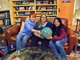 "The NASA Team on the set of ""The Big Bang Theory"" holding the WMAP ball. From left to right: Sara Mitchell, Sarah Eyermann, Maggie Masetti."