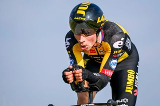 Slovenian Primoz Roglic of Team JumboVisma pictured in action during the third stage of 79th edition of the ParisNice cycling race a 144 km individual time trial from Gien to Gien France Tuesday 09 March 2021 BELGA PHOTO DAVID STOCKMAN Photo by DAVID STOCKMANBELGA MAGAFP via Getty Images