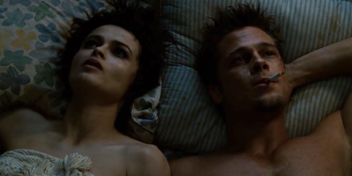 Helena Bonham Carter and Brad Pitt in Fight Club