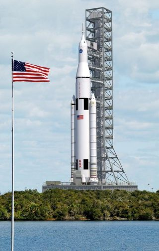 This artist's concept shows a vertical view of NASA's Space Launch System on the launch pad.