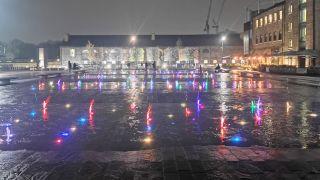 Granary Square, London looks colorful and vibrant despite it being the middle of the night. Image credit: TechRadar