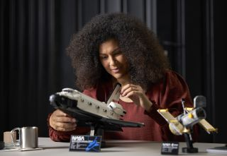 Lego's new NASA Space Shuttle Discovery set comes with the Hubble Space Telescope and will launch in Lego stores April 1, 2021.