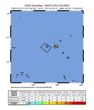 Solomon Islands earthquake shake map