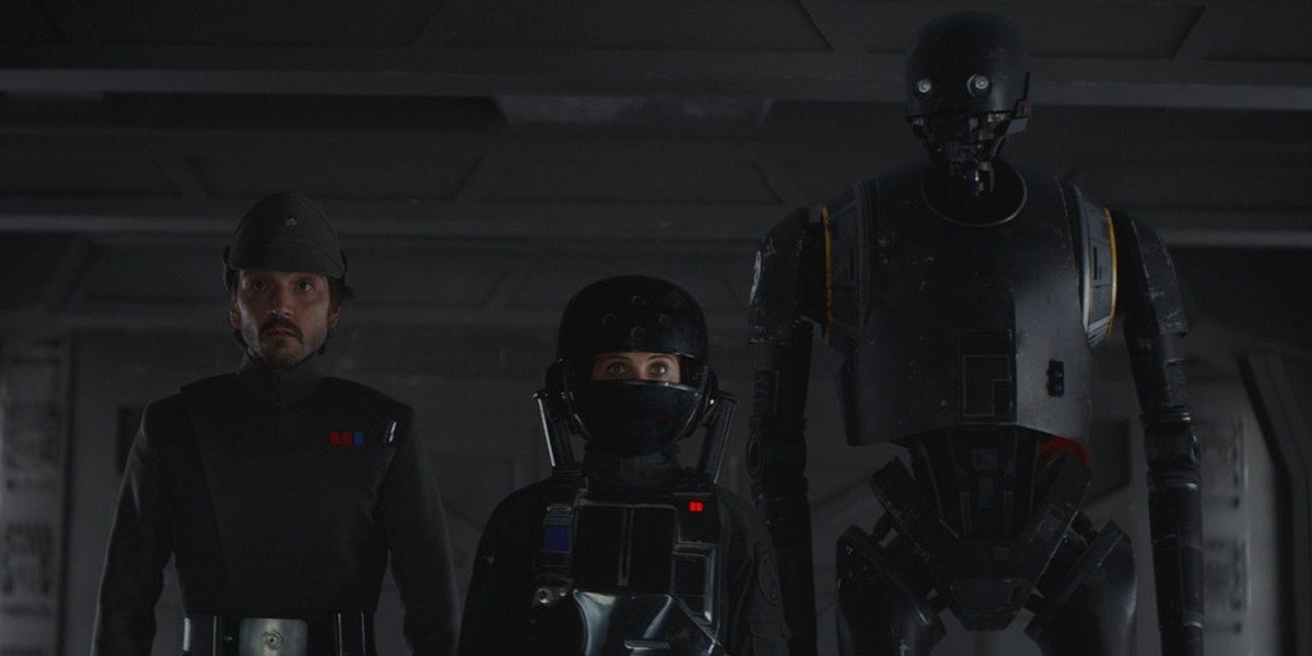 Diego Luna, Felicity Jones and Alan Tudyk's K-2SO in Rogue One