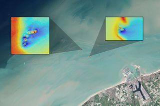 Satellite images of shipwrecks