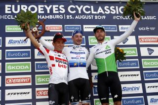 Caleb Ewan, Elia Viviani and Giacomo Nizzolo on the podium in Hamburg