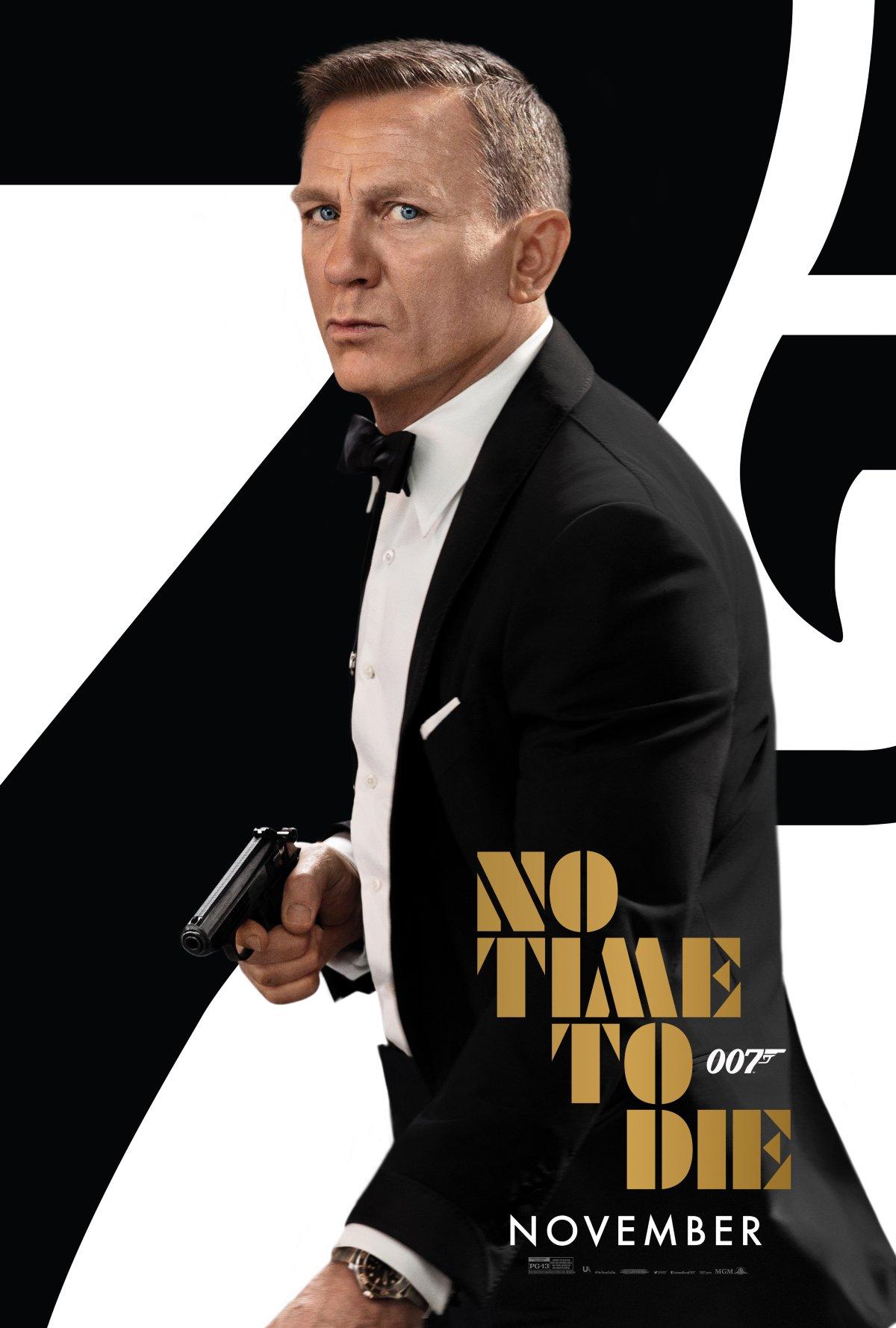 No Time To Die Daniel Craig in his tuxedo, gun drawn
