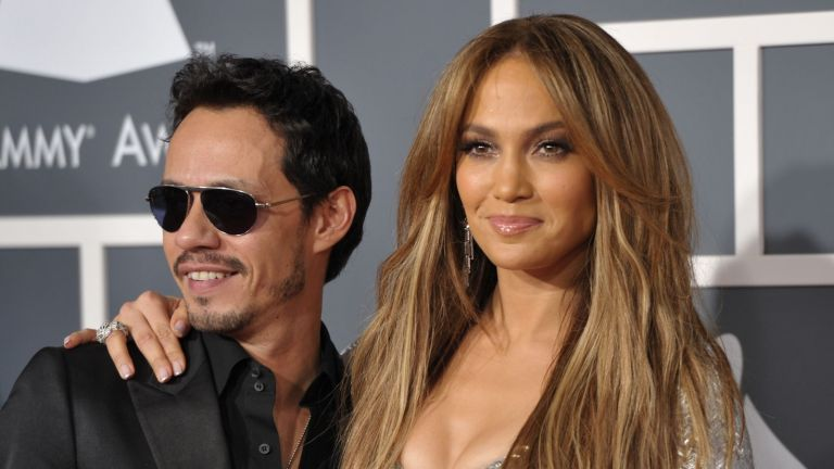 Singers Marc Anthony and Jennifer Lopez arrive at The 53rd Annual GRAMMY Awards held at Staples Center on February 13, 2011 in Los Angeles, California.