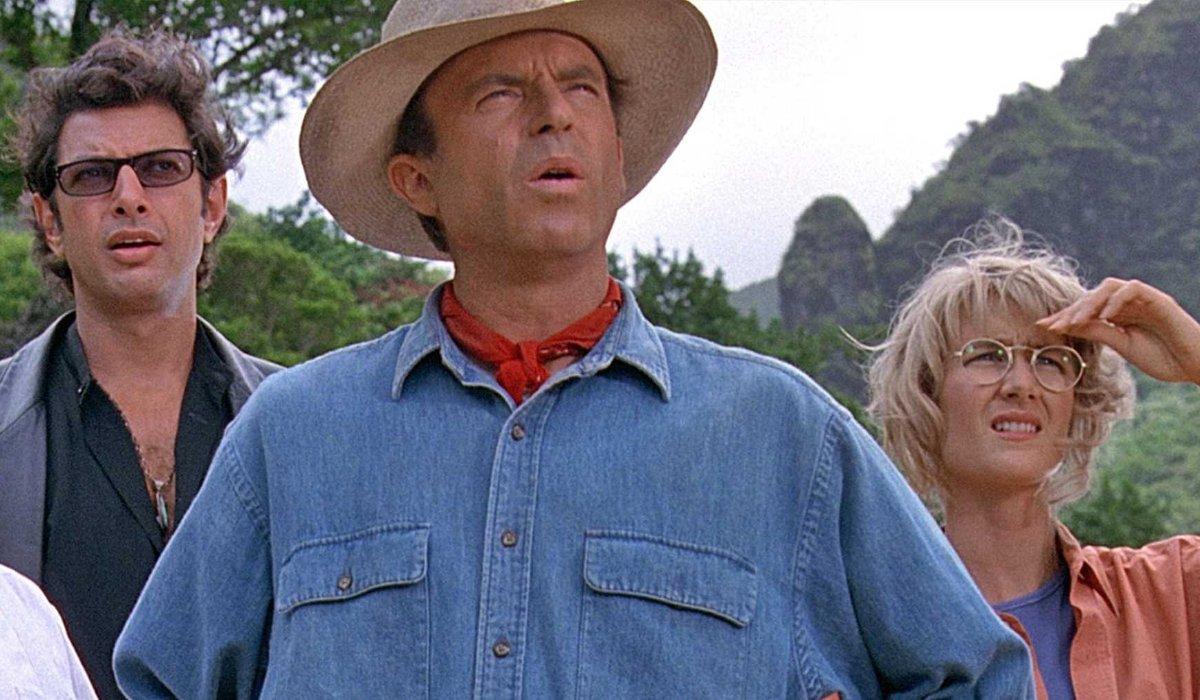 Jurassic Park Dr. Malcolm Dr. Grant Dr. Sattler look out at the Raptor paddock