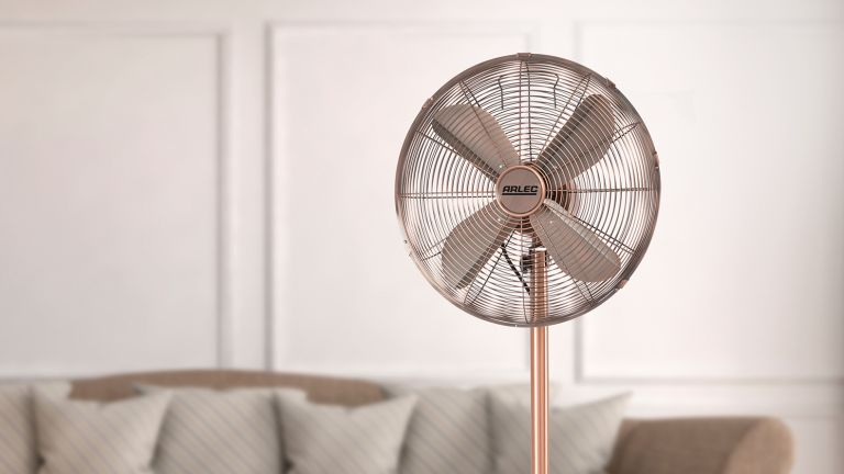 copper fan in living room by homebase