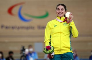 TOKYO JAPAN AUGUST 25 Gold medalist Paige Greco of Team Australia poses during the medal ceremony for Track Cycling Womens C13 3000m Individual Pursuit on day 1 of the Tokyo 2020 Paralympic Games at Izu Velodrome on August 25 2021 in Izu Japan Photo by Kiyoshi OtaGetty Images