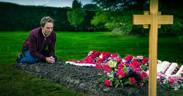 David Platt at Kylie's graveside in Coronation Street.
