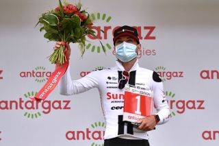 LARUNS FRANCE SEPTEMBER 06 Podium Marc Hirschi of Switzerland and Team Sunweb Most Combative Rider Celebration Trophy during the 107th Tour de France 2020 Stage 9 a 153km stage from Pau to Laruns 495m TDF2020 LeTour on September 06 2020 in Laruns France Photo by Marco Bertorello PoolGetty Images