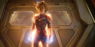 Brie Larson using powers in Captain marvel suit