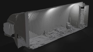 A 3D scan of the bunker reveals the close quarters where 7 men would have lived.