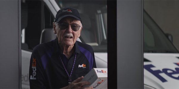 Stan Lee delivering a FedEx package in Captain America: Civil War