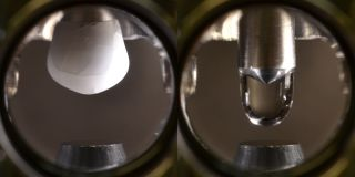 The ultra-pure icicle is pictured on the left, and the water droplet on the right.