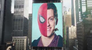 Tom Holland / Spider-Man on a billboard in the Spider-Man: No Way Home trailer
