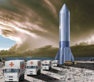 An artist's concept of the U.S. Air Force's Rocket Cargo Vanguard program, which is studying the use of reusable commercial rockets to deliver cargo and supplies anywhere on Earth.