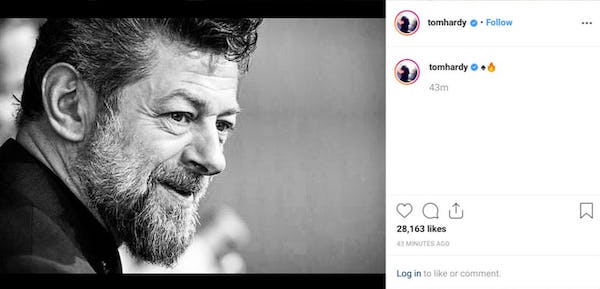 Tom Hardy's deleted post