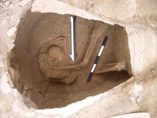 A burial jar containing the remains of an ancient inhabitant of the Canaanite city of Sidon. This individual was one of five whose DNA was sequenced to reveal the ancestry of the Canaanites.